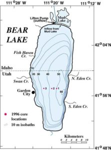 Bear Lake in Idaho and Utah fishing map
