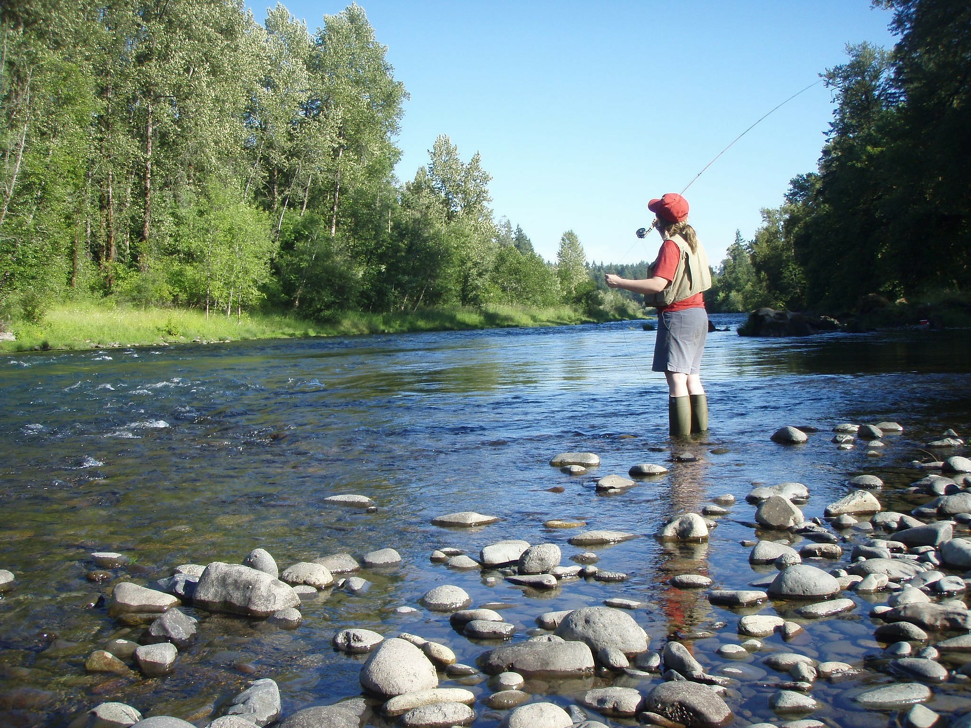 Fishing for trout in Oregon